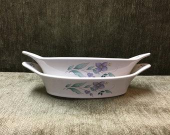 Pfaltzgraff Au gratin, April Pattern,  April Au gratin, Pfaltzgraff April,  Stoneware, Floral, Handled Au gratin Bowls, Small Casserole Dish
