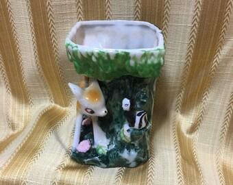 Royal China of Japan Bambi Fawn and Skunk Planter, Baby Deer and Skunk Planter, Bambi Planter,  1950's, Porcelain Planter, Bambi Skunk Vase