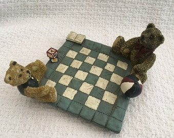 Figi Graphics Two Bears on a Quilt  1996 Play Time Figurine, Bears on Checkerboard, Bears on Quilt, Bears Figurine, Nursery Decor