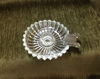 Ribbed Glass Ashtray with Silver Cigarette Rest, Glass Ashtray, Silver Cigarette Rest,