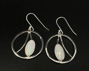 White Opal Earrings // 925 Sterling Silver // Hammered Circle Setting // French Wires // Opal earrings // October Birthstone