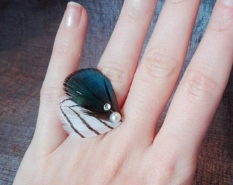 Ring silver pheasant feather and Duck feather. collection butterfly.