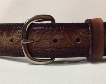 Personalized Leather Belt / Hand Painted / Golden Eagle