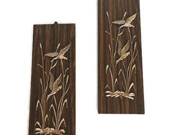 Vintage ducks in cattails plaque wood grain wall hanging retro den decor