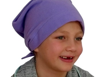 Jaye Children's Flannel Head Cover, Girl's Cancer Headwear, Chemo Scarf, Alopecia Hat, Head Wrap, Cancer Gift for Hair Loss - Purple
