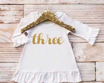 Third Birthday Girl Dress, Third Birthday Dress, 3rd Birthday Outfit, Girl Birthday Outfit, Girl Photoshoot Outfit, Toddler Girl Birthday