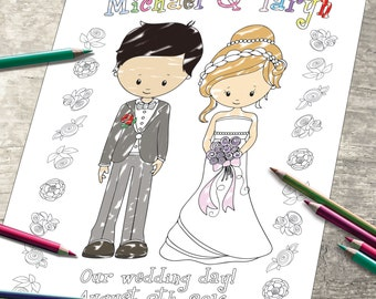 Personalized Wedding Coloring Page - Digital Wedding Party - Bride & Groom Invitation - childrens kids activity - JPEG file.