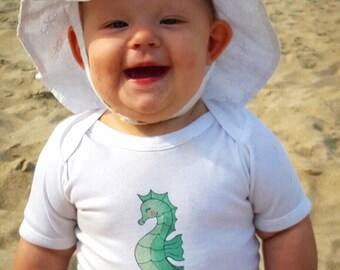 Cute Baby bodysuit, Unique Baby clothes, Seahorse baby, Beach baby, Ocean baby shower, Fish baby shower, Little Girl, Girly, Beach Bum