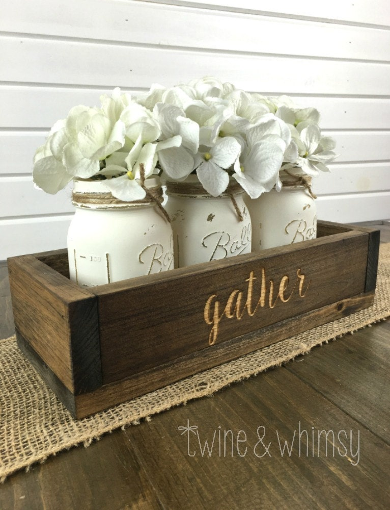 Mason jar centerpiece wood box rustic