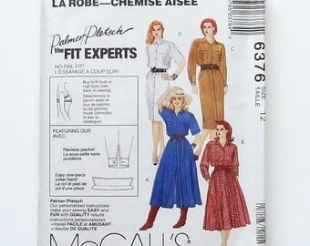 McCall's Shirtdress Sewing Pattern #6376 - Button Front Shirtdress with Straight or Full Skirt - Size 12 (Bust 34) - UNCUT - Palmer/Pletsch