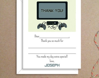 Fill-in Thank You Notes - Video Game Notes - Childrens Thank You Cards- Illustrated Note Cards