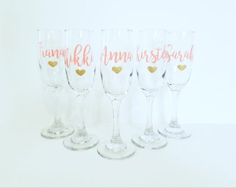 Bridal Party Champagne Flute Glasses, Personalized Wedding Flutes, Bridal Party Champagne Glass