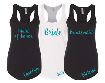 5 Personalized Bridesmaid Tank Tops, Bridesmaid Tanks, Bridesmaid Shirts, Bachelorette Party Tanks, Bachelorette Shirts