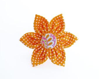 Orange Polka Dot Flower for Dog collar, Cat collar, collar flower, pet collar flower, wedding flower, flowers for dog collars
