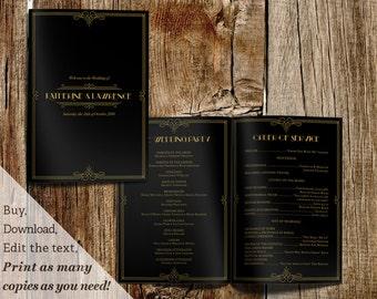 Printable Wedding Ceremony Program Template in Gatsby 1920s Black Gold