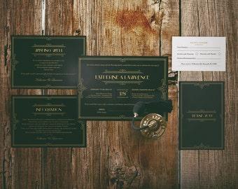 DIY 1920s Gatsby Classic Black and Gold Wedding Invitation Bundle Kit