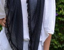 Fashion Triangle Scarf, Lace Shawl Wrap, Dark  Scarf,  Modern Shawl, Triangle Lace, Wrap Fringe, Gift Ideas ,Fashion