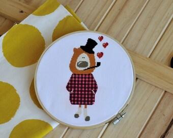 Sherlock in Love Cross Stitch pattern chart anumal pattern leo modern cross stitch pattern cute pattern PDF Instant download