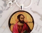 "St Matthias Apostle Pendant with 20"" Sterling Silver Chain - 28mm"