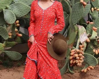Long Sleeve Bohemian Dress - Bohemian Maxi Dresses With Sleeves - Gypsy Boho Maxi Dress - Rustic Maxi Dress - Vintage 70's Cotton Dresses