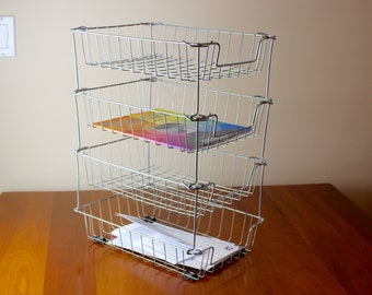 Vintage Industrial Wire Basket Stacking Paper Tray
