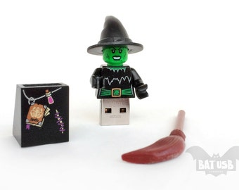 Lego witch usb minifigure 8/16/32/64GB - Memory Stick -  Lego® original Minifigure - Witch with hat - Lego usb legs cap - Halloween usb