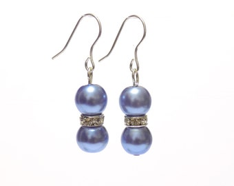 blue pearl earrings, earrings, pearl earrings, blue earrings, dangle earrings, bridesmaid earrings, drop earrings