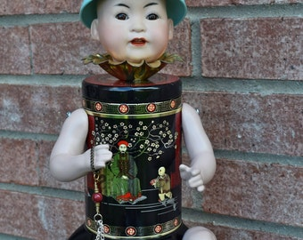 Asian Art Doll Assemblage Tea Tin Japanese Altered Art Junk Art ~ Sakura~ OOAK Assemblage Art by Laurie Roy Art