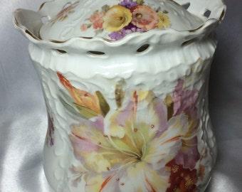 Carl Tielsch Biscuit Jar; German, reticulated jar, C.T. Germany, 9835 biscuit jar