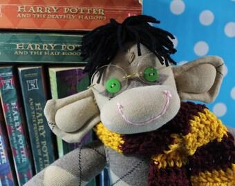 Sock Monkey / Harry Potter Inspired / Argyle / Gryffindor / Harry Potter Nursery / Harry Potter Baby / Nursery Decor / Harry Potter Gift
