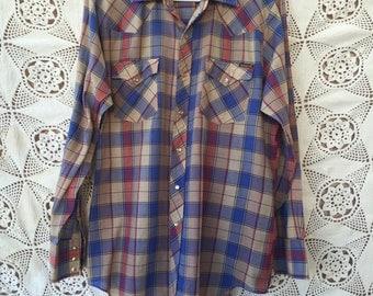 1970s Plaid WESTERN Pearl Snap Shirt by Genuine Roebucks