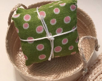 1 1/4 Inch Shabby Chic Handmade Miniature Dollhouse Throw Pillow Set - Pretty Green with Pink and White Dots
