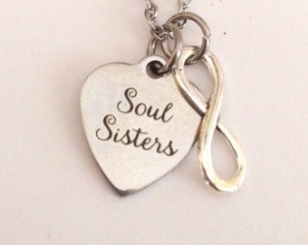 Soul sisters necklace, petite stainless steel necklace, best friends, best girlfriends, besties, soulmates, kindred spirits