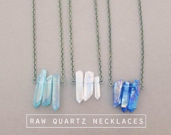Hipster Quartz Crystal Necklace // Grunge Blue Crystal Necklace // Teal Pastel Goth Soft Grunge Boho Punk Creepy Cute Kawaii Bohemian Quartz