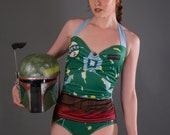 Star Wars Swimsuit, Boba Fett Swimsuit, Sweetheart Halter One Piece Boba Fett Swimsuit, Pinup Swimsuit, Star Wars Bathing Suit