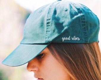 Good Vibes Cap - DAD HAT - Yoga Hat - Yoga Cap - Travel Hat - Women's Hats - Womens Hats Trendy - Yoga Clothes - Yoga Accessories - CAP