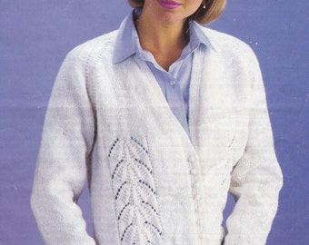 Womens lacy look double knit cardigan 28-44 inch vintage knitting pattern pdf INSTANT download pattern only PDF