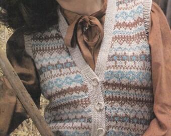 PDF vintage knitting pattern sleeveless cardigan waistcoat lady's pdf INSTANT download pattern only pdf 1970s