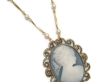 blue cameo necklace, classic cameo necklace, cameo and pearl necklace, blue cameo pendant, long cameo necklace, large cameo pendant, cameo
