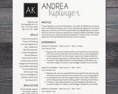 Resume Template - CV Template, Word for Mac or PC, Professional, Cover Letter, Creative, Modern, Black, Initials - The Andrea