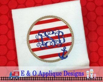 Anchor Rope Monogram Machine Applique Digital Design -Nautical Monogram Digital Embroidery Design