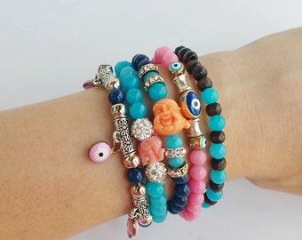 boho style - stacking bracelet - festival style - buddha evil eye - stretch bracelets - bracelet stack - hippie ibiza style - layered boho