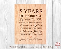 5 Year Wedding Anniversary Gift Ideas Wood : Wedding Anniversary Gift, 5th Year Anniversary Print on Wood, 5 Year ...