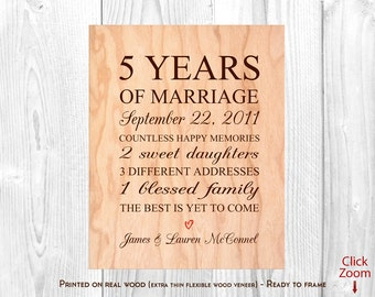 Wedding Anniversary Gifts Fifth Year : 5th anniversary gift wood 5th wedding anniversary gift 5th year ...