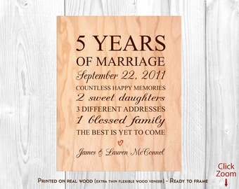 5 Year Anniversary Gift for Him Wood Anniversary Gifts for