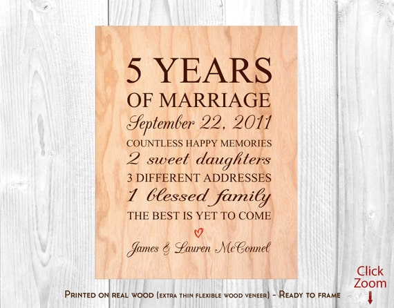 5th Wedding Anniversary Traditional Gifts: 5th Anniversary Gift Wood 5th Wedding Anniversary Gift 5th