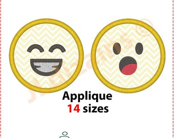 Emoji applique designs. Laughing emoticon embroidery. Machine embroidery design -INSTANT DOWNLOAD- 2 designs with 14 sizes each.