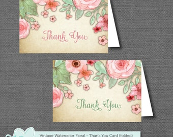 Thank You Card, Instant Download, Printable Thank You Card, Vintage Watercolor Floral, Baby Shower, Bridal Shower, Folded Card, 004A, 003A