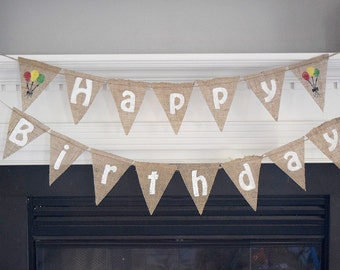Happy Birthday Banner- First Birthday- Party Decor- Birthday Decor- Photo Prop- Burlap Banner- Birthday Bunting- Personalized
