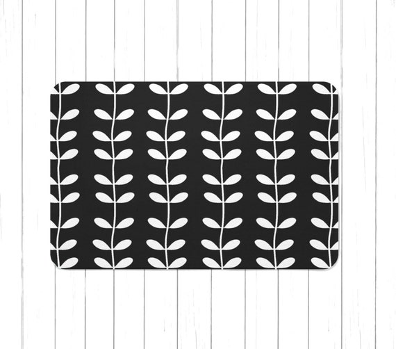Black And White Vines Rug Or Bath Mat Minimalist